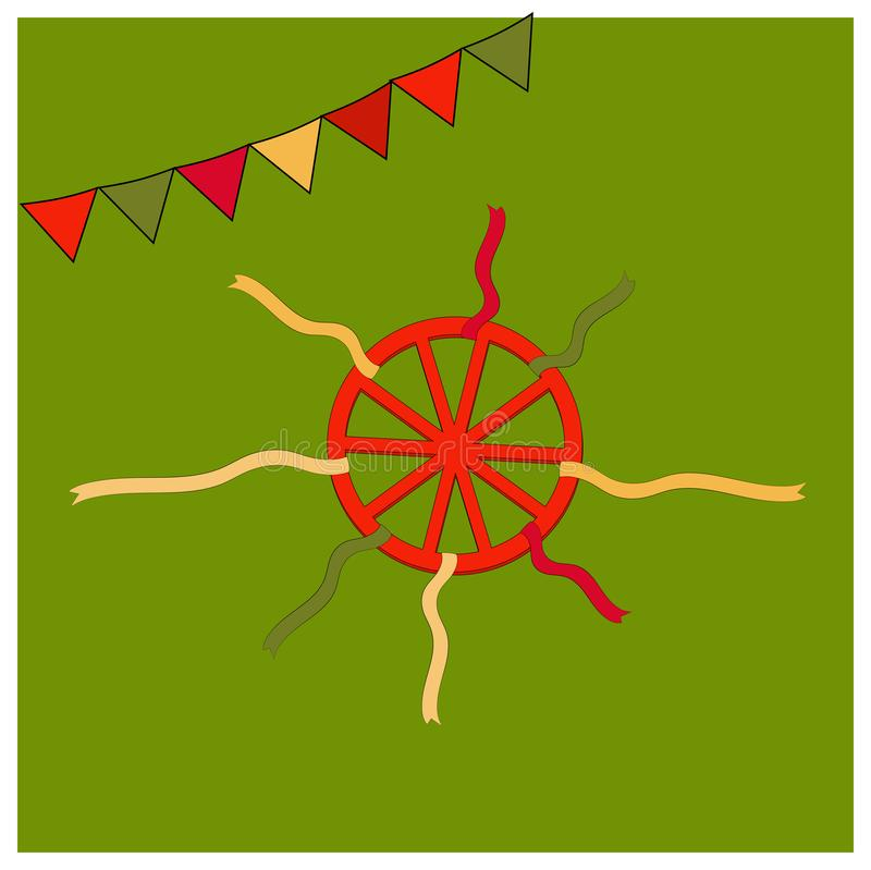 Rotes Rad und bunte Bänder Shrovetide oder Maslenitsa Russischer Nationalfeiertag der Elemente Pädagogische Karten oder lizenzfreie abbildung