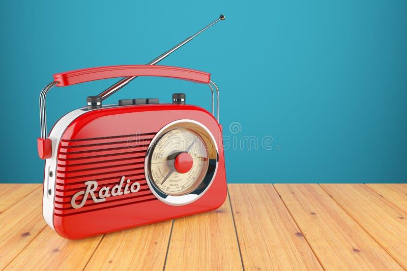 Rotes Radiogerät der Weinlese auf hölzerner Tabelle lizenzfreie abbildung