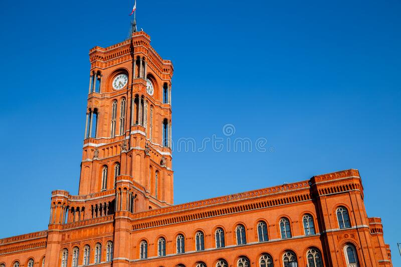 Rotes Rathaus Red City Hall in Berlin, Germany. Europe royalty free stock images
