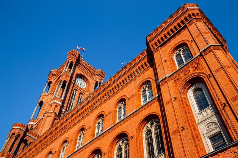 Rotes Rathaus Red City Hall in Berlin, Germany. Europe royalty free stock photography