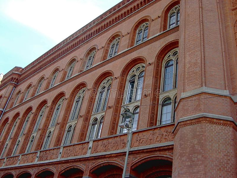 Rotes Rathaus Red City Hall, located near Alexanderplatz in Berlin, Germany.  stock photo