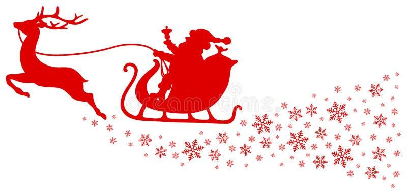 Rotes Ren des Weihnachtspferdeschlitten-einer mit Schneeflocken vektor abbildung