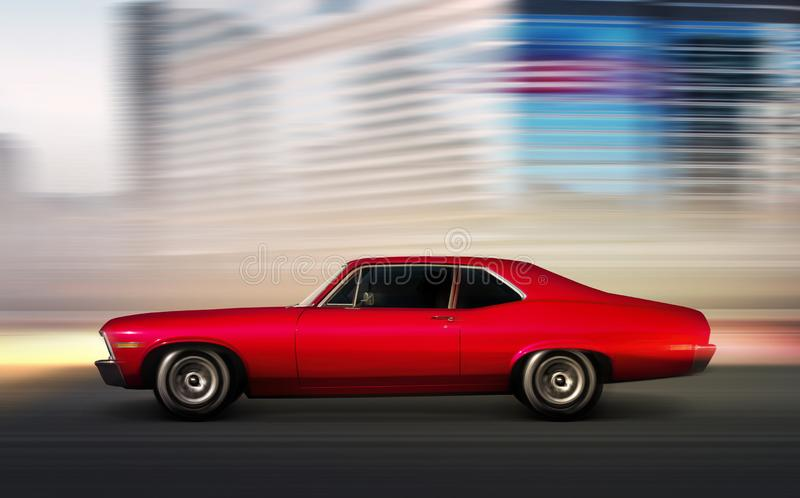 Rotes Retro- Autobewegen lizenzfreie stockfotos