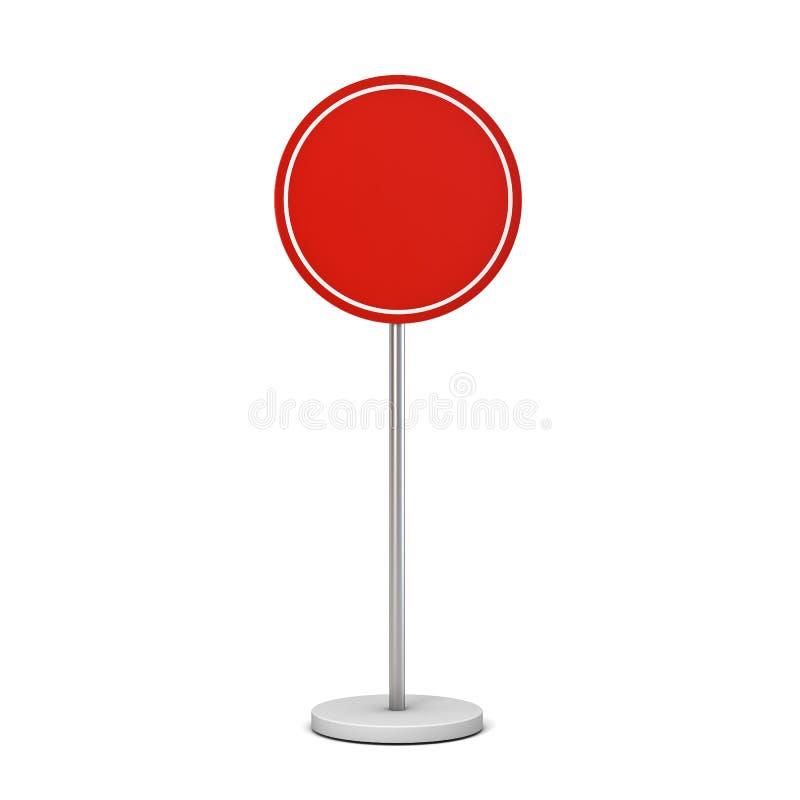 Rotes Rundenzeichen des freien Raumes mit Spott Pfostenstand freien Raumes herauf Informationen Signagebrett oder -werbung der Ru vektor abbildung