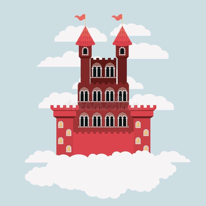 Rotes Schloss von Märchen im Himmel umgeben durch Wolken im bunten Schattenbild stock abbildung