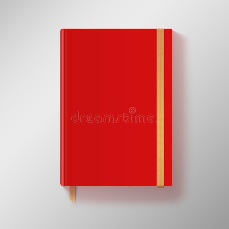 Rotes Schreibheft mit elastischem Band und Gold bookmarken. stock abbildung