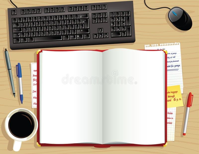 Rotes Schreibtischtagebuch von oben lizenzfreie abbildung