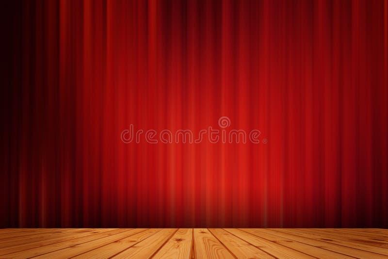 Rotes Schwarzes drapieren Kino und Holzfußboden vektor abbildung