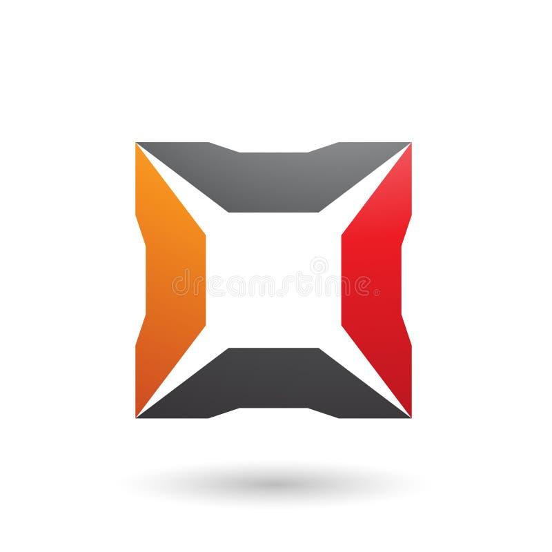 Rotes schwarzes und orange Quadrat mit Spitzen-Vektor-Illustration stock abbildung