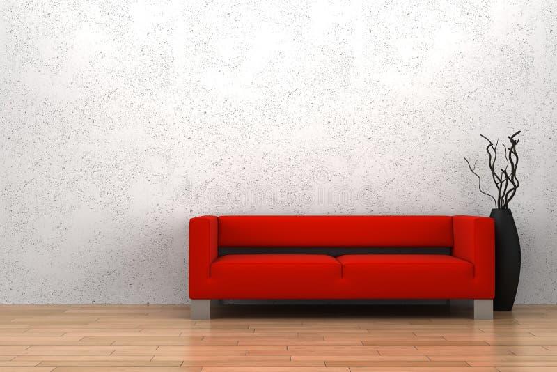 Rotes Sofa und Vase vor weißer Wand stock abbildung