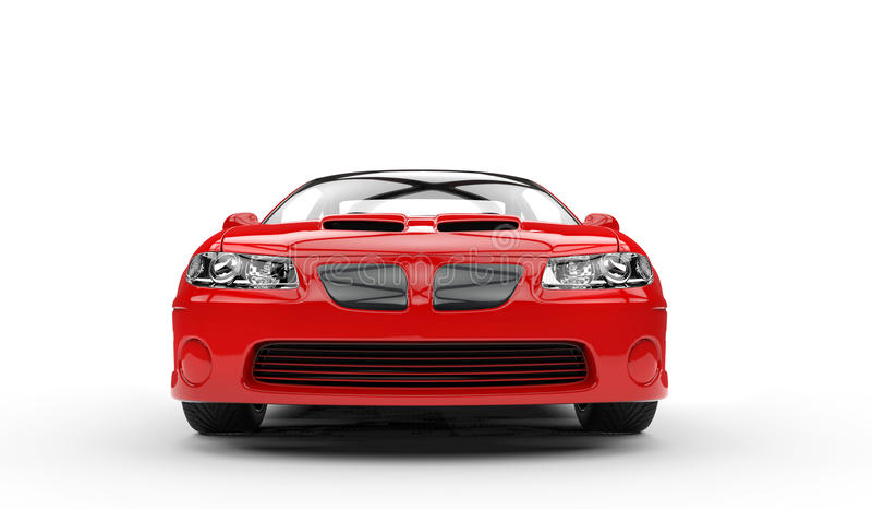 Rotes Sport-Auto Front Closeup stockbilder