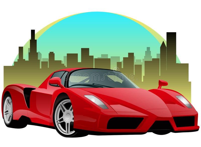 Rotes Sport-Auto mit Stadtbild lizenzfreie abbildung