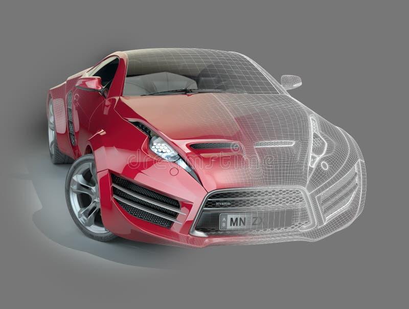 Rotes Sportauto mit einem wireframe lizenzfreie abbildung