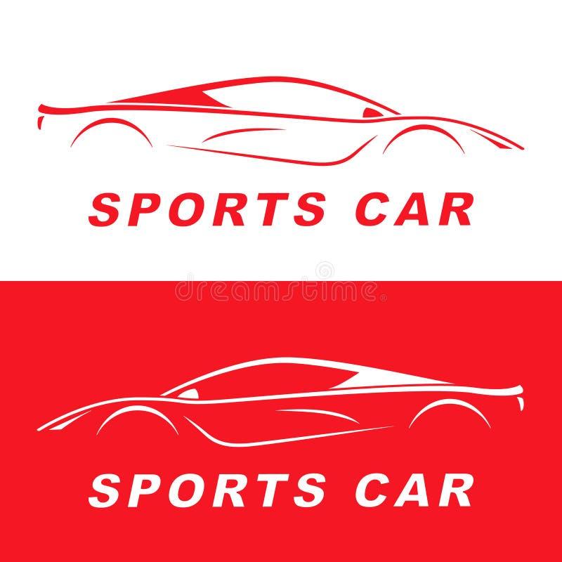 Rotes Sportautoschattenbild Sonnenkollektor und Zeichen für alternative Energie lizenzfreie abbildung