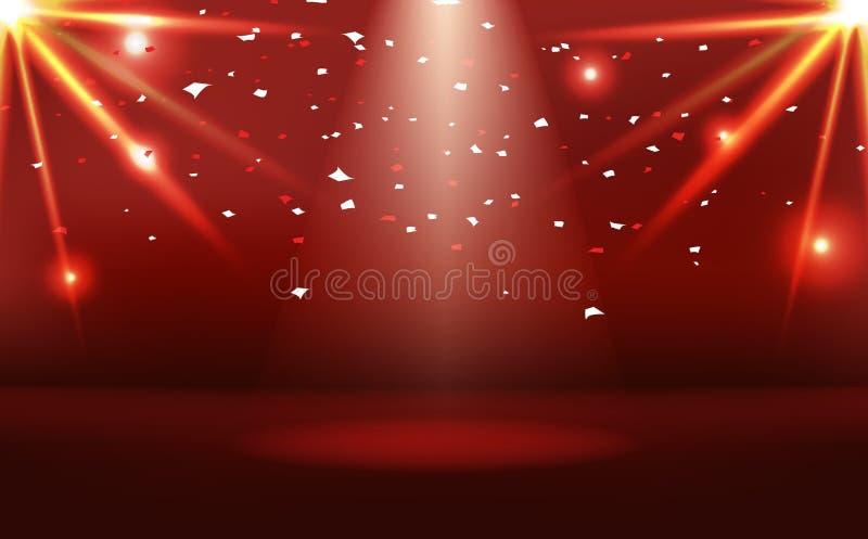 Rotes Stadium mit hellen Effekt- und Papierneonkonfettis feiern, Lichtstrahlstreuungszusammenfassungs-Hintergrundvektor des Sonne lizenzfreie abbildung