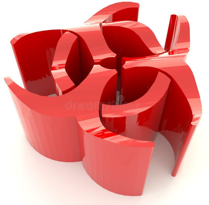 Rotes Strahlungssymbol des Biohazard 3D im Hintergrund stock abbildung