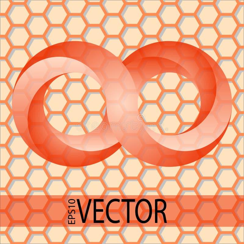 Rotes Symbol der Unendlichkeit 3d auf hexogonal Hintergrund lizenzfreie stockfotos