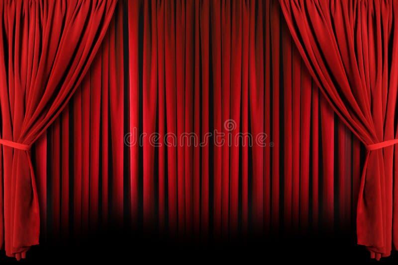 Rotes Theater drapiert mit drastischer Leuchte und Schatten lizenzfreies stockbild