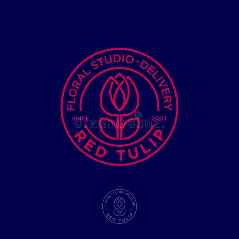 Rotes Tulpenlogo Blumenstudioemblem Schönes lineares Logo, in Form einer Tulpe mit Buchstaben im Kreis vektor abbildung