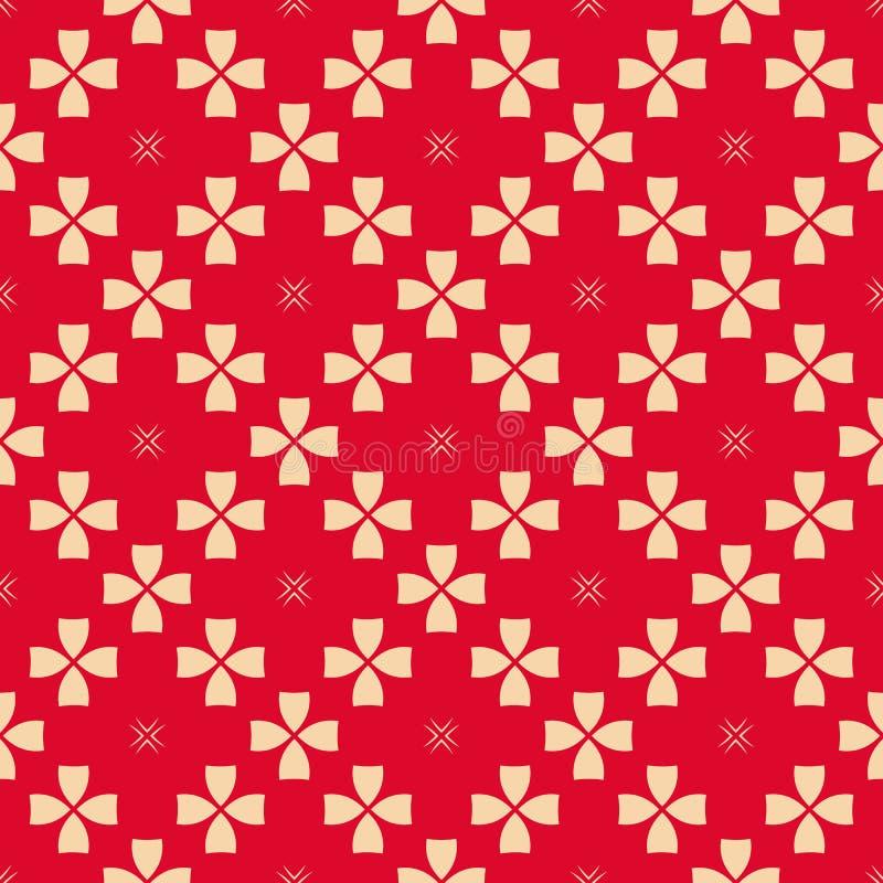 Rotes und beige geometrisches nahtloses mit Blumenmuster des Vektors Asiatische Artverzierung vektor abbildung