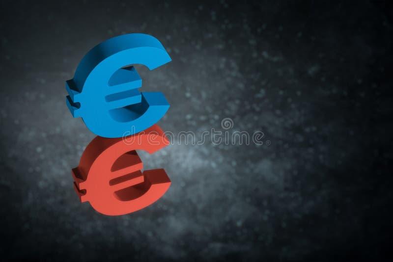 Rotes und blaues EU-Währungszeichen oder Zeichen mit Spiegel-Reflexion auf dunklem Dusty Background lizenzfreies stockfoto
