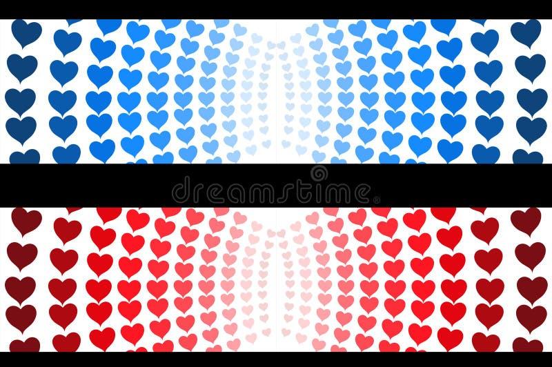 Rotes und blaues Herzzeichen für Titelnetz stock abbildung