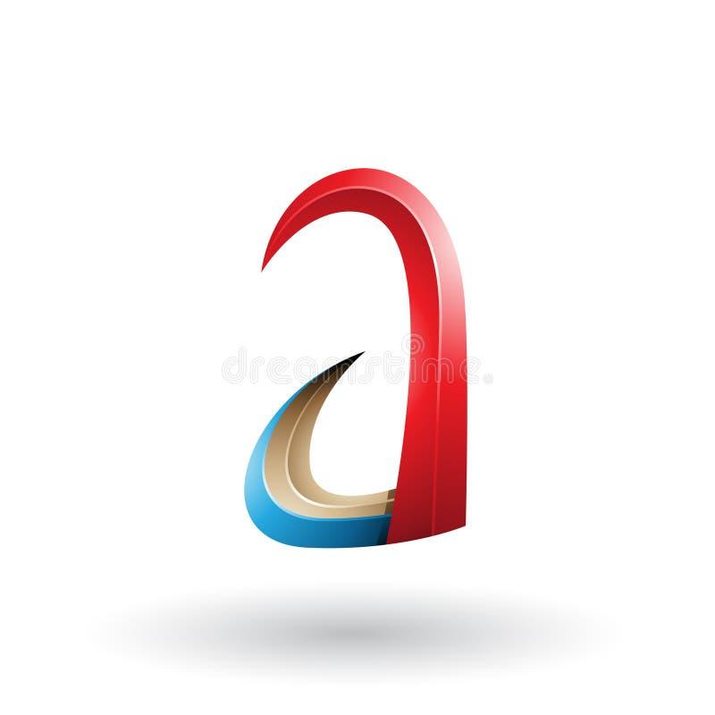 Rotes und blaues Horn 3d wie Buchstabe A lokalisiert auf einem weißen Hintergrund stock abbildung