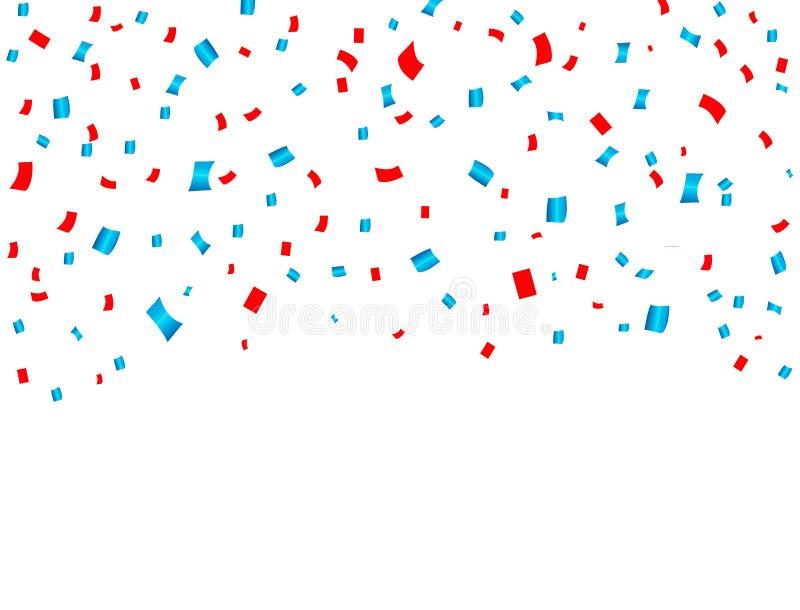 Rotes und blaues Konfettifallen USA-Feier Konzept in den nationalen Farben für amerikanischen Unabhängigkeitstag, Feierereignis u stock abbildung