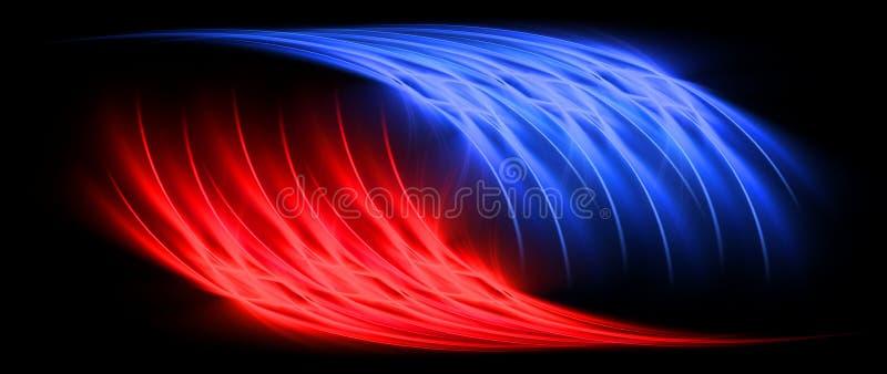 Rotes und blaues Zeichenkonzept stock abbildung