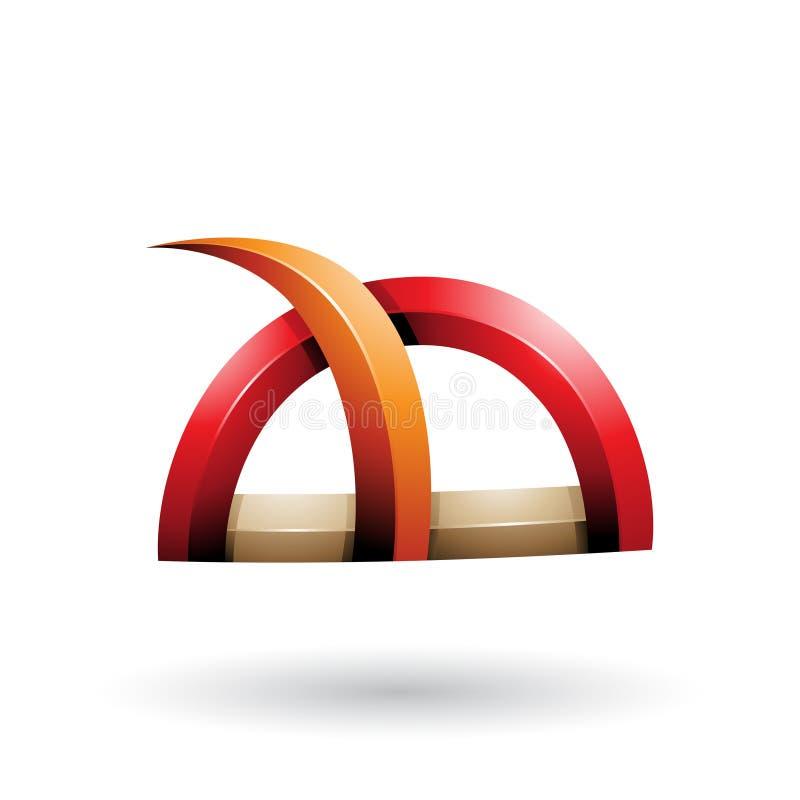 Rotes und orange glattes Gras wie stachelige Form lokalisiert auf einem weißen Hintergrund stock abbildung