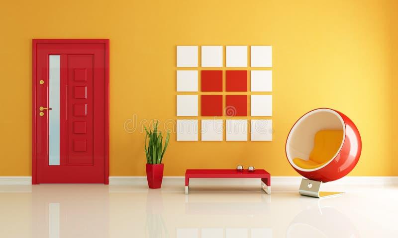 Rotes und orange Haupteintrag-Foyer stock abbildung