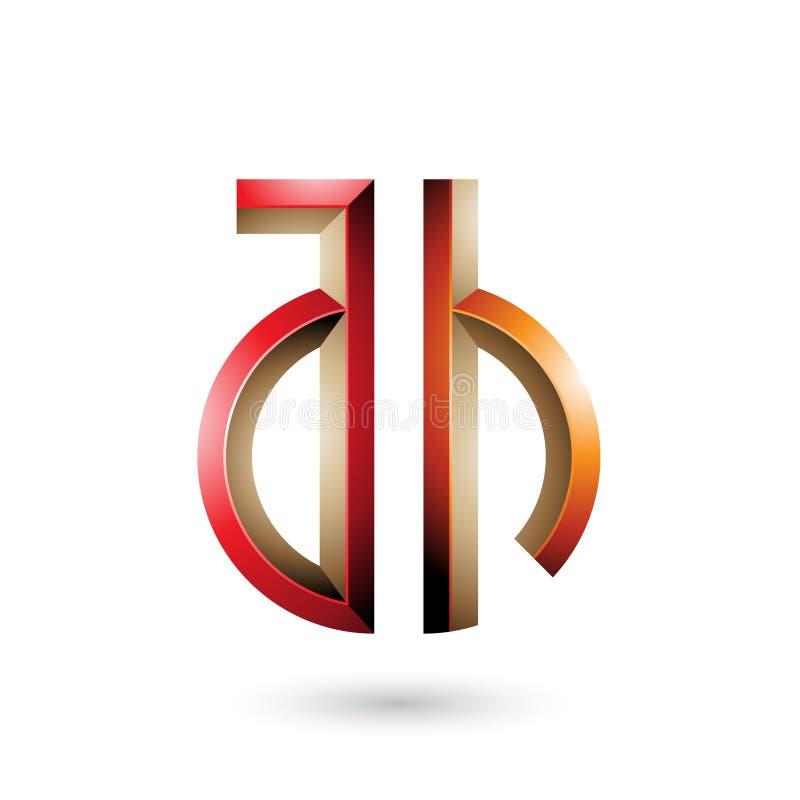 Rotes und orange Schlüssel ähnliches Symbol von Buchstaben A und H lokalisiert auf einem weißen Hintergrund vektor abbildung