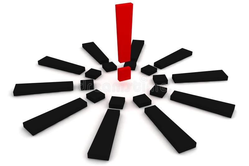 Rotes und schwarzes Ausrufezeichen stockbilder