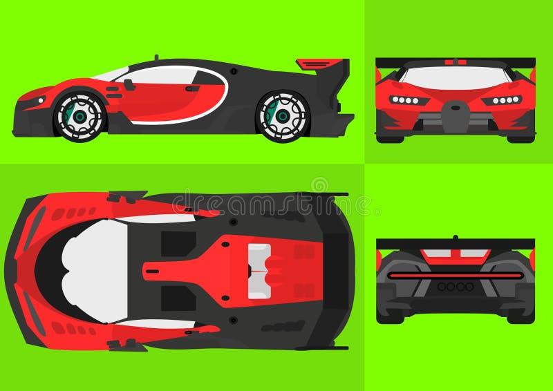 Rotes und schwarzes Vektor-Auto vektor abbildung