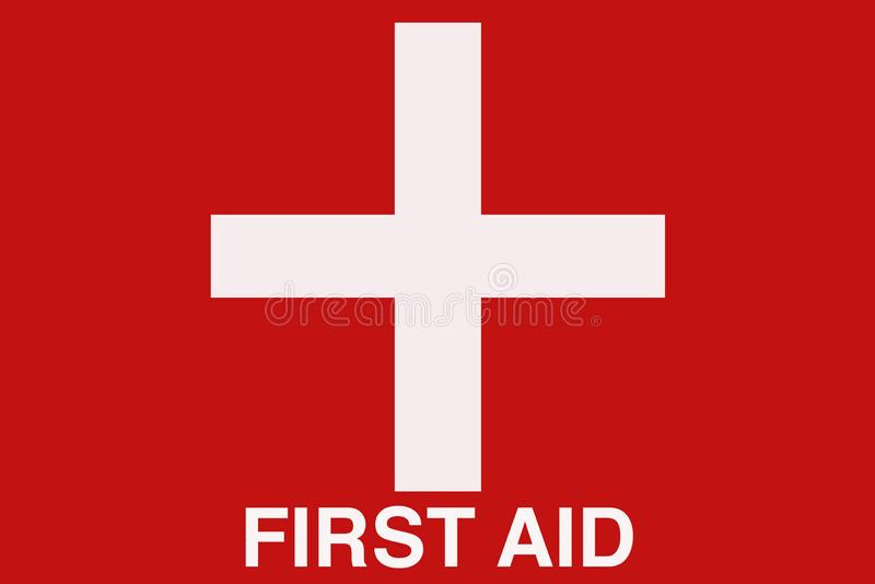 Rotes und weißes allgemeinhinzeichen der ersten Hilfe mit Quersymbol stockbilder