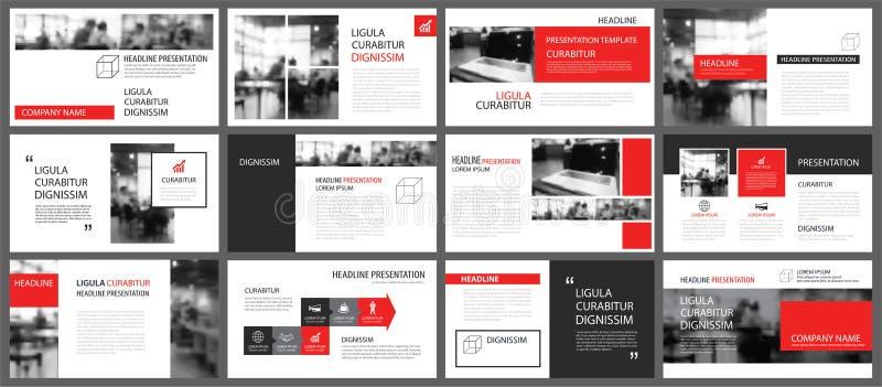 Rotes und weißes Element für das Dia infographic auf Hintergrund prese stock abbildung