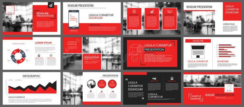 Rotes und weißes Element für das Dia infographic auf Hintergrund prese vektor abbildung