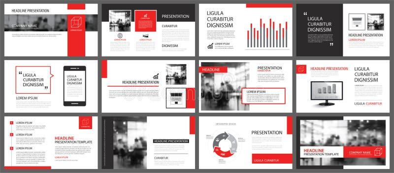 Rotes und weißes Element für das Dia infographic auf Hintergrund prese lizenzfreie abbildung