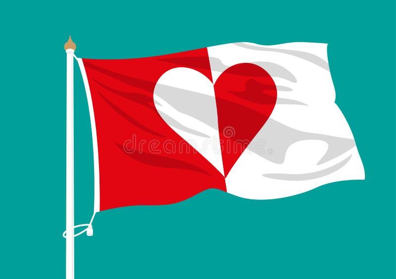 Rotes und weißes Herz fahnenschwenkend lizenzfreie abbildung