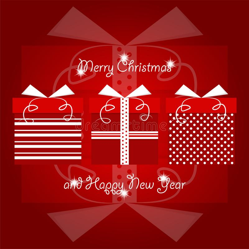 Rotes und weißes Weihnachtsgeschenke mit Tupfen und Linie Muster gestapelt zusammen mit Weihnachten und neuen Jahren Grüßen vektor abbildung