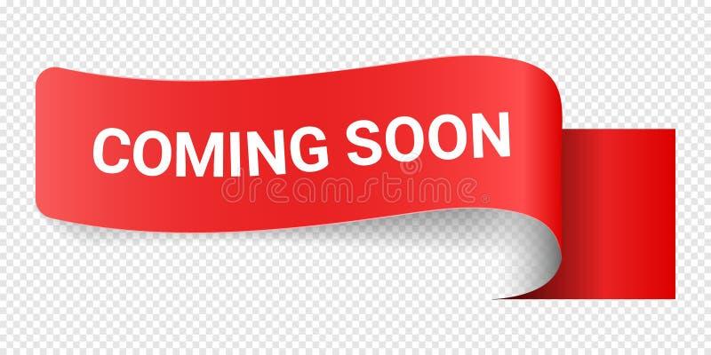 Rotes Vektor-Illustrations-Zeichen, das bald kommt Illustrationen für Förderungs-Marketing für Drucke und Plakate, Menü-Entwurf stock abbildung