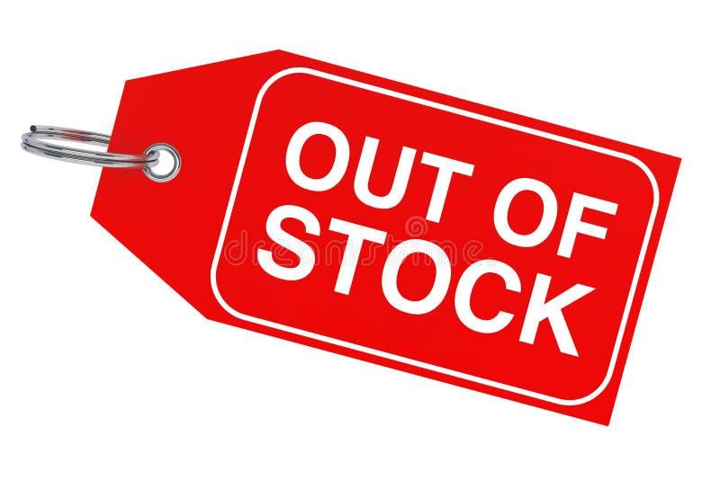 Rotes Verkaufs-Tag mit vergriffenem Zeichen Wiedergabe 3d lizenzfreie abbildung