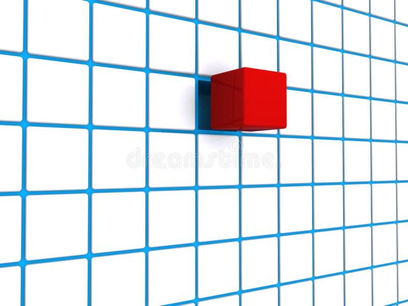 Rotes Würfelblaurasterfeld stock abbildung