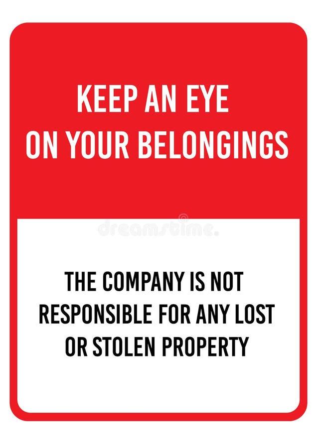 Rotes Warnzeichen passend für Format A4 Halten Sie ein Auge auf Ihrem Eigentum und Privateigentum lizenzfreie abbildung