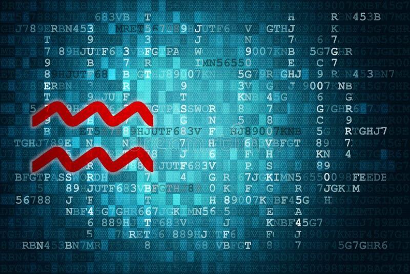 Rotes Wassermann-Sternzeichen auf blauem digitalem Hintergrund Kopieren Sie Platz lizenzfreie abbildung