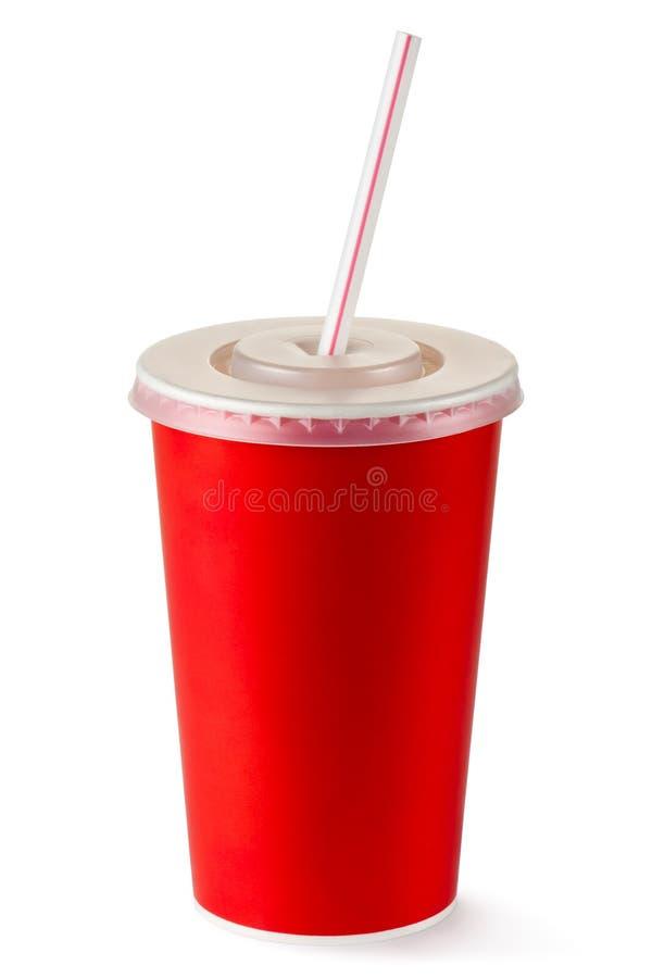 Rotes wegwerfbares Cup für Getränke mit Stroh stockbild