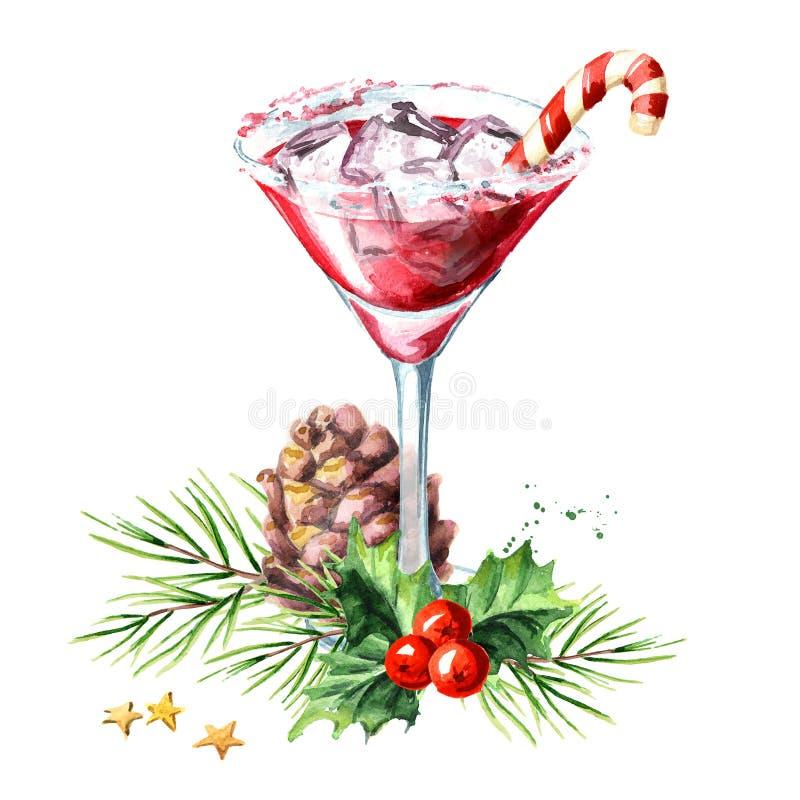 Rotes Weihnachten Martini mit Lutscher- oder Zuckerstange und Weihnachtszusammensetzung Gezeichnete Illustration des Aquarells Ha stock abbildung