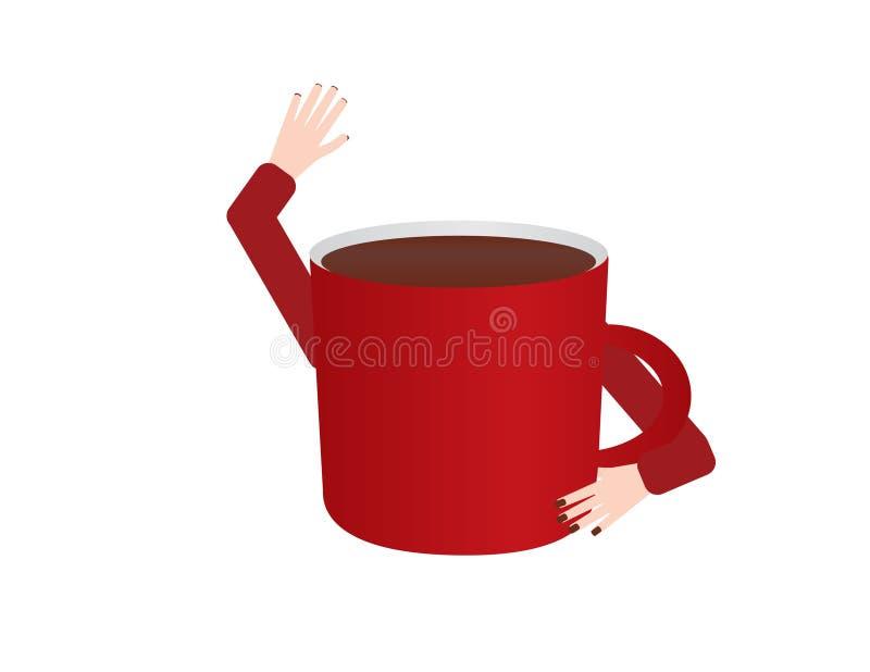 Rotes wellenartig bewegendes hallo der Kaffeetasse vektor abbildung