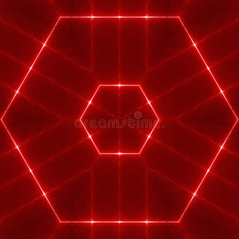 Rotes wellenförmiges Hexagon stock abbildung