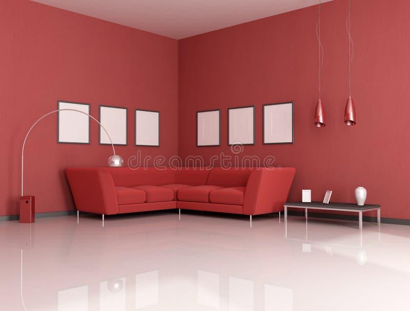 Rotes Wohnzimmer lizenzfreie abbildung